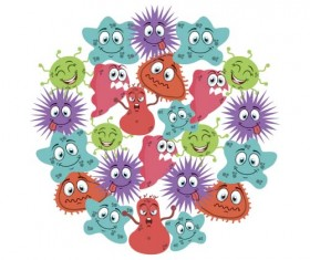 Funny cartoon bacteria and virus vector 09
