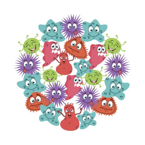 Funny cartoon bacteria and virus vector 09