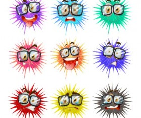 Funny cartoon bacteria and virus vector 11