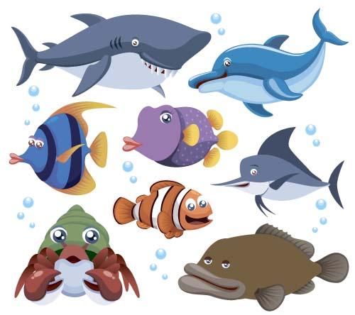 Funny marine animal cartoon vectors set 05