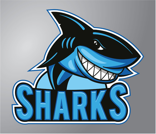 Funny sharks logo design vector vector animal vector logo free