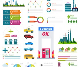 Gasoline oil with gas station infographic vector 02