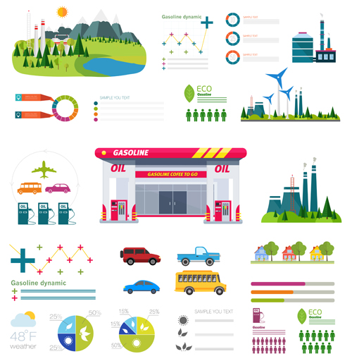 Gasoline oil with gas station infographic vector 05