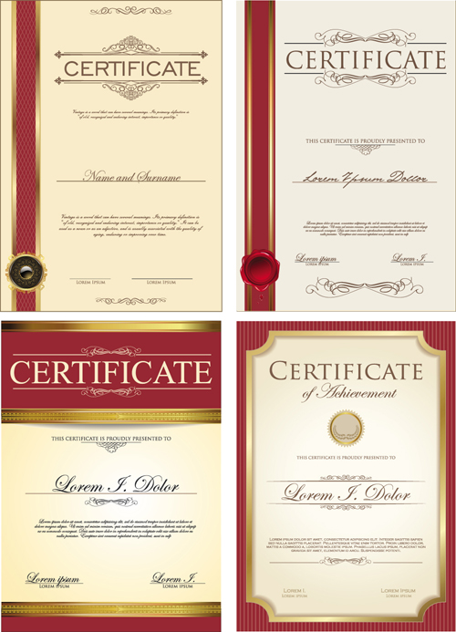 Gold Border Certificate Template Vector Material 03 Free Download