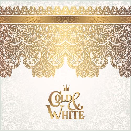 Gold lace with white ornaments background vector 10 ...