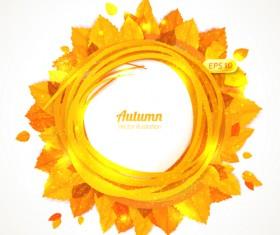 Golden autumn leaves frame vector 01