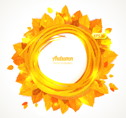 Golden autumn leaves frame vector 01