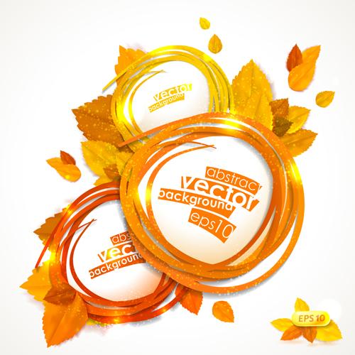 Golden autumn leaves frame vector 02