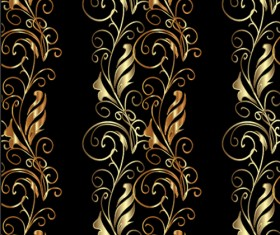 Golden floral borders ornaments seamless vector