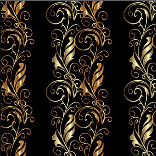 Golden Floral Borders Ornaments Seamless Vector Vector