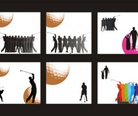 Golf figure silhouettes vector material