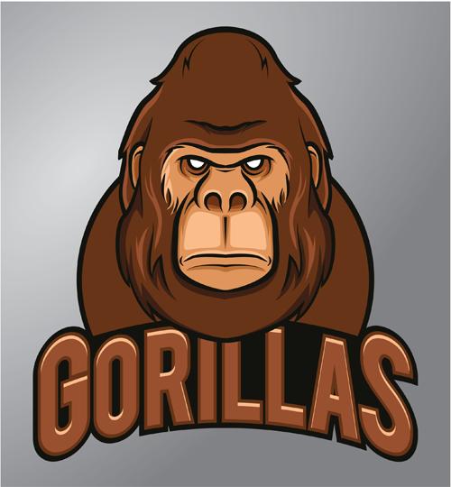 gorilla logo design vector material 02 vector animal