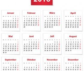 Grid Calendar 2016 modern vector 01