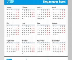 Grid Calendar 2016 modern vector 02