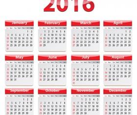Grid Calendar 2016 modern vector 03