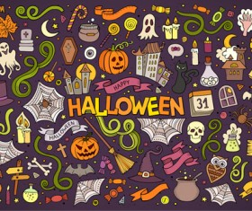 Halloween hand drawing decorative elements vector