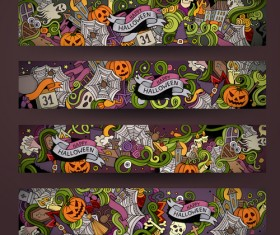 Halloween hand drawing illustration vector banner