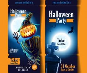 Halloween party ticket vector 01