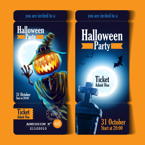 Christmas Party Ticket Template Free: Halloween Party Ticket Vector 01
