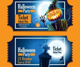 Halloween party ticket vector 02