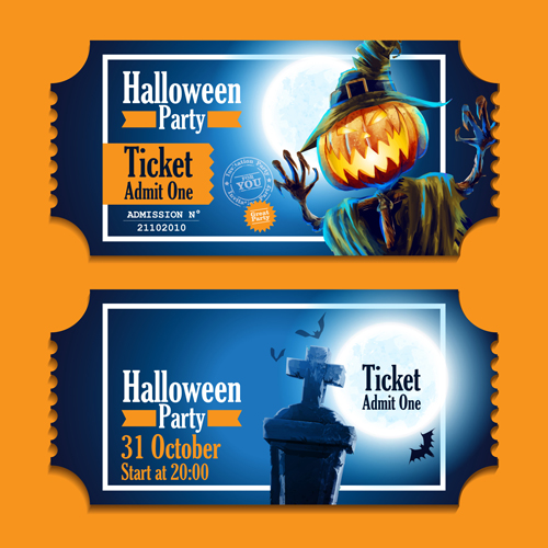 halloween party ticket vector 02 free download