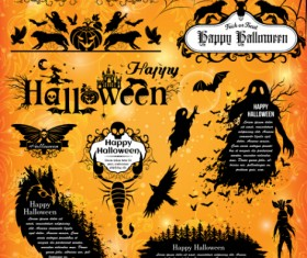 Halloween text frame with design elements vector 01