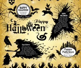 Halloween text frame with design elements vector 03