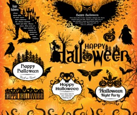 Halloween text frame with design elements vector 04