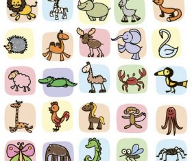 Hand drawn cartoon animal icons vector 01