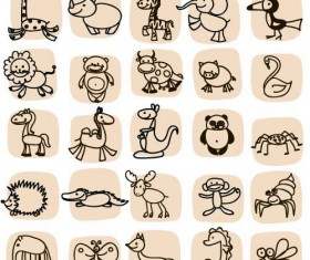 Hand drawn cartoon animal icons vector 02