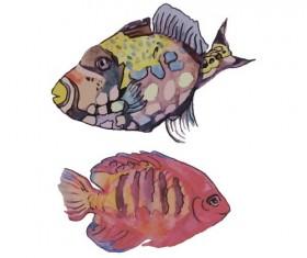Hand drawn marine fish watercolor vector 01