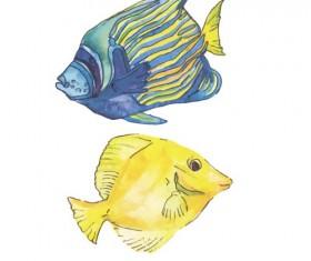 Hand drawn marine fish watercolor vector 02