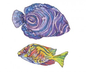 Hand drawn marine fish watercolor vector 03