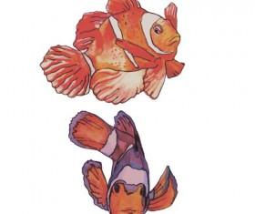 Hand drawn marine fish watercolor vector 04