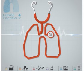 Health and Medical infographic with Stethoscope vector 01