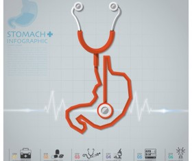 Health and Medical infographic with Stethoscope vector 03