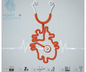 Health and Medical infographic with Stethoscope vector 04