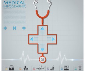 Health and Medical infographic with Stethoscope vector 07