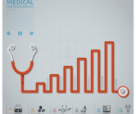 Health and Medical infographic with Stethoscope vector 08