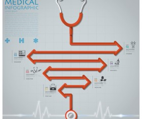Health and Medical infographic with Stethoscope vector 09