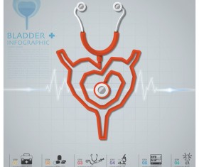 Health and Medical infographic with Stethoscope vector 10