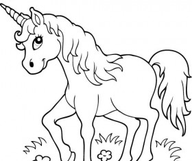Horned horse coloring picture cartoon vector 01