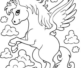 Horned horse coloring picture cartoon vector 02