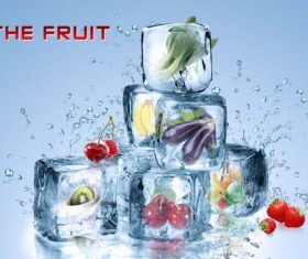 Ice with vegetables and fruits psd background