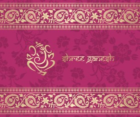 Indian floral ornament with pink background vector 01