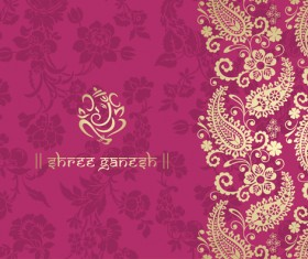 Indian floral ornament with pink background vector 02