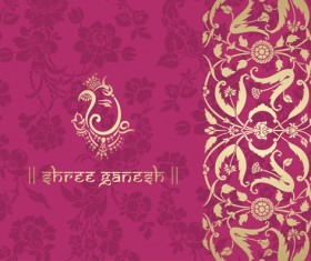 Indian floral ornament with pink background vector 03