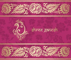 Indian floral ornament with pink background vector 04