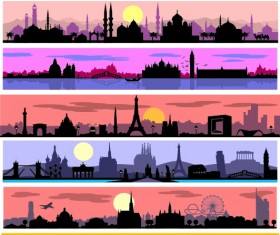 Islam styles city banners vector