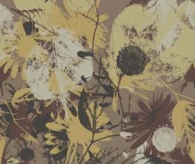 Leaves grunge pattern seamless vectors 03